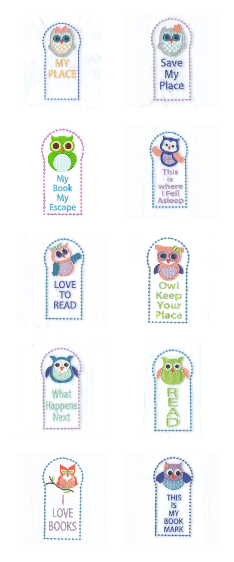 Owl Bookmarks Embroidery Machine Design Details
