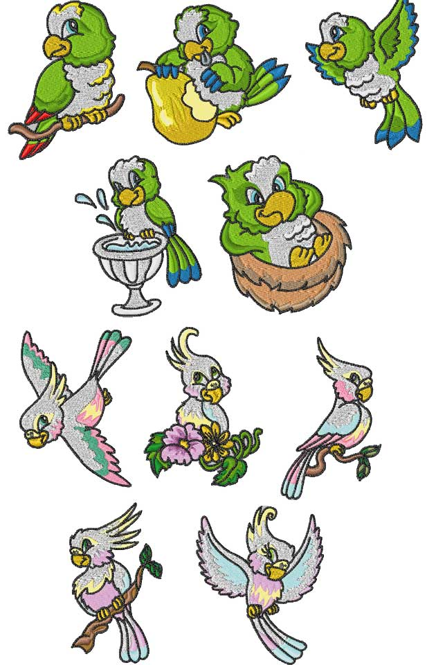 Parrot Palooza Embroidery Machine Design Details