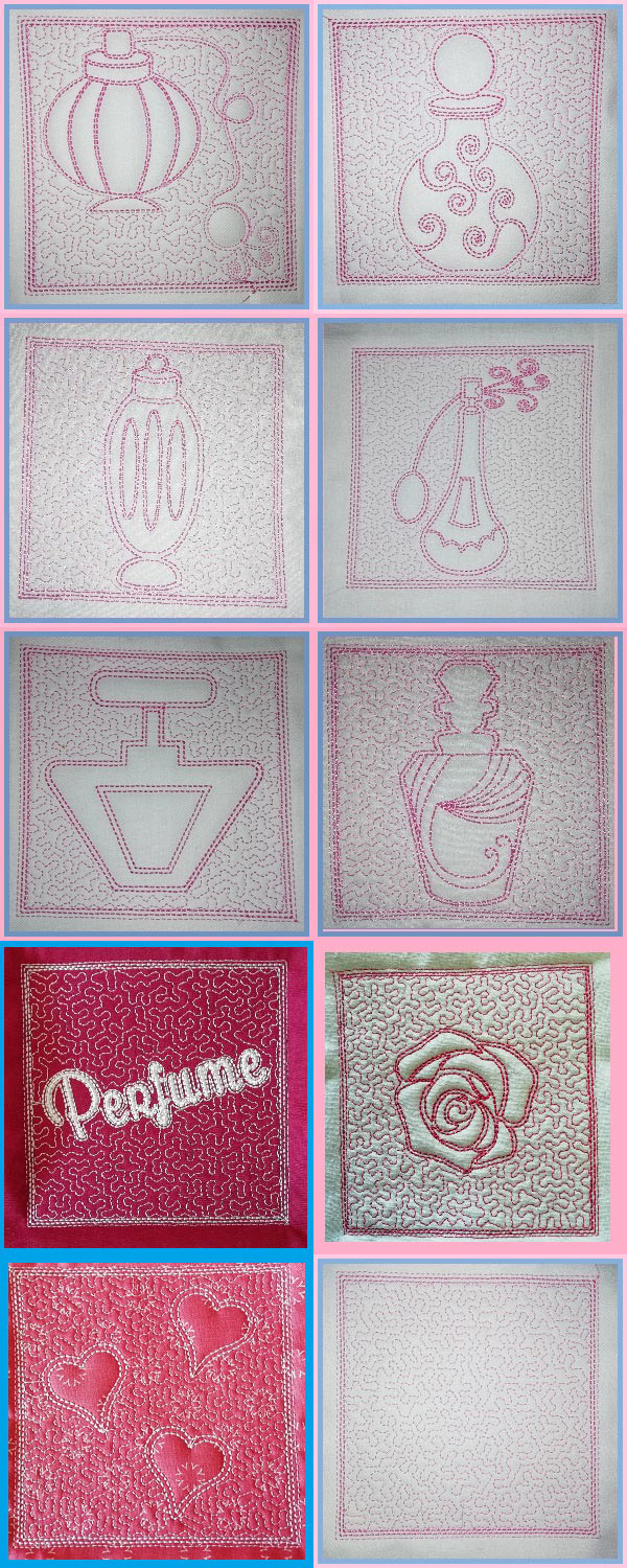 Perfume Trapunto Blocks Embroidery Machine Design Details