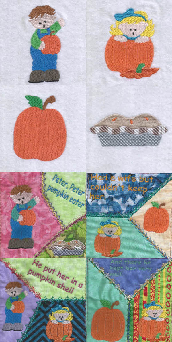 Peter Peter Pumpkin Eater Embroidery Machine Design Details