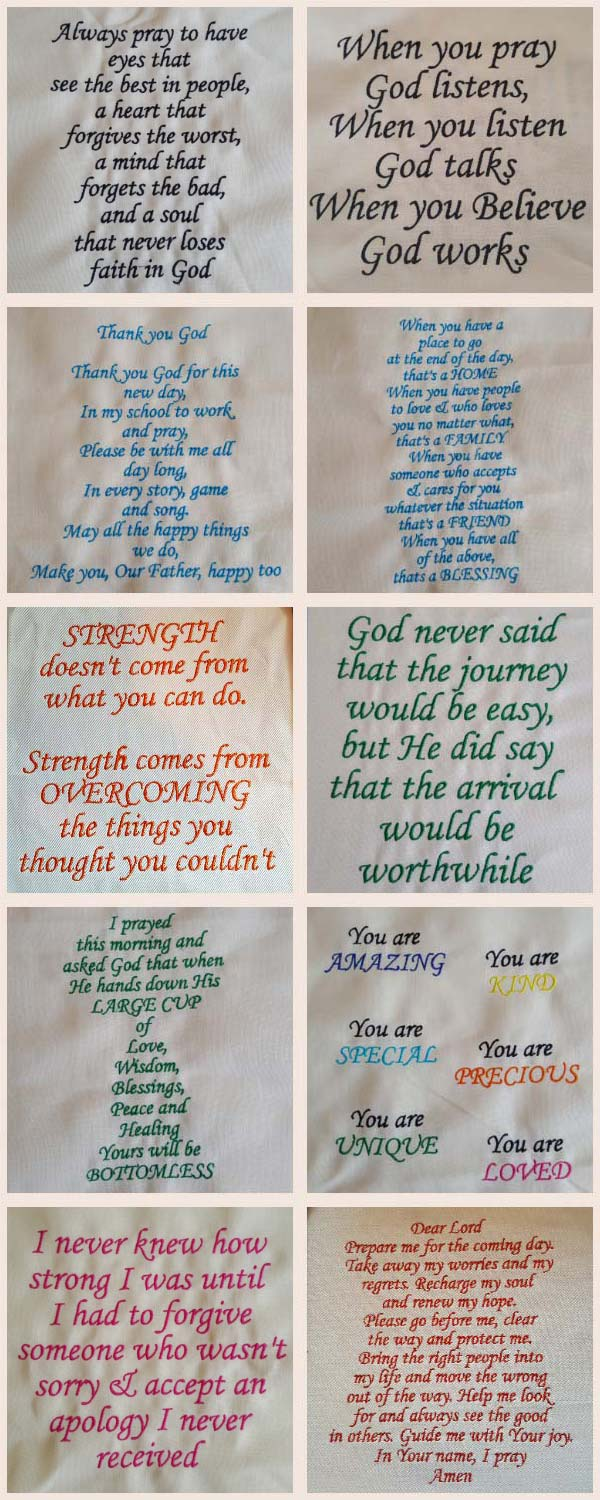 Prayers and Quotes Embroidery Machine Design Details