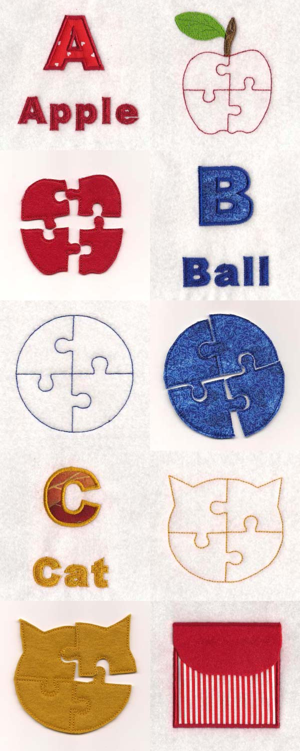 Puzzle Page ABC Embroidery Machine Design Details