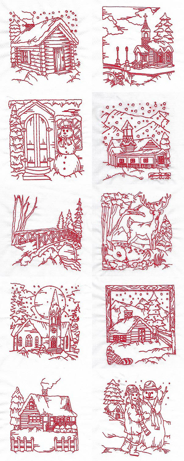 Quick Stitch Winter Village Embroidery Machine Design Details