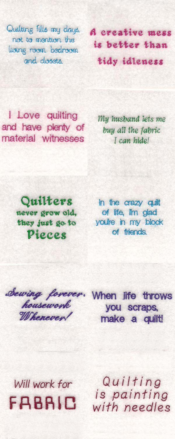 Quilt Sayings Embroidery Machine Design Details
