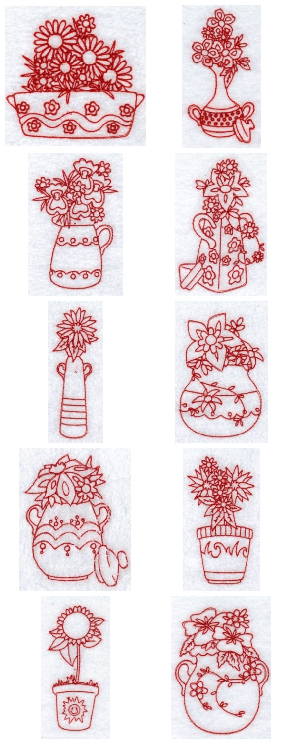 Embroidery machine designs redwork floral vases set