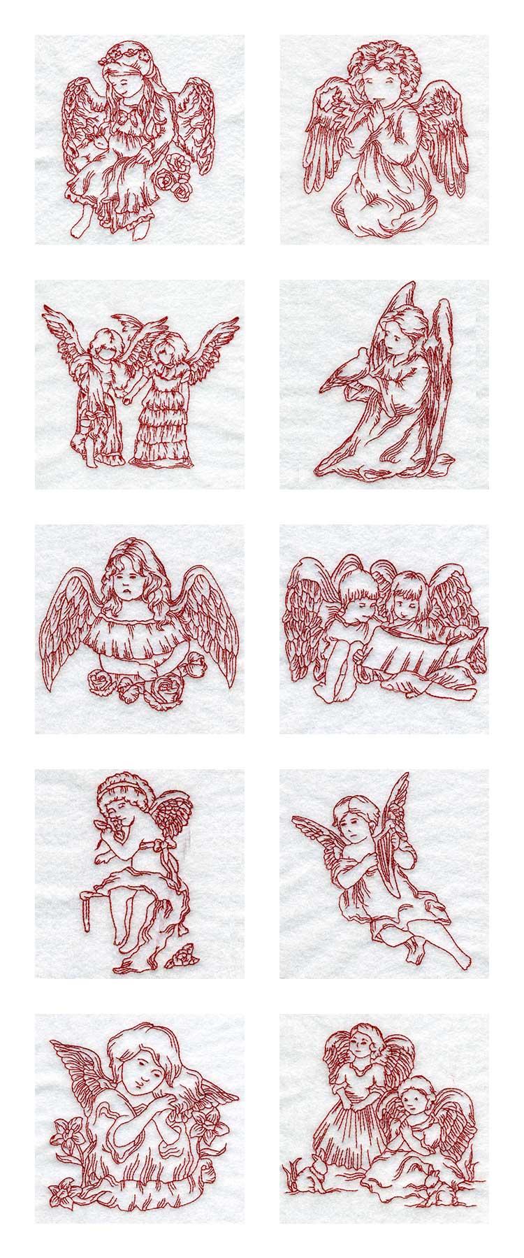 Embroidery machine designs line art children angels set
