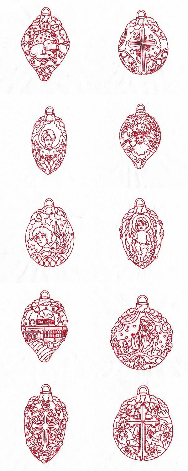 Redwork Christmas Decorations Embroidery Machine Design Details