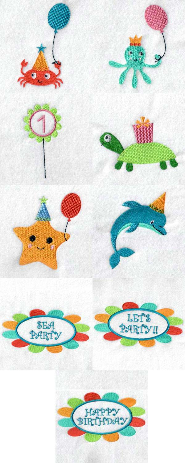 Sea Party Embroidery Machine Design Details