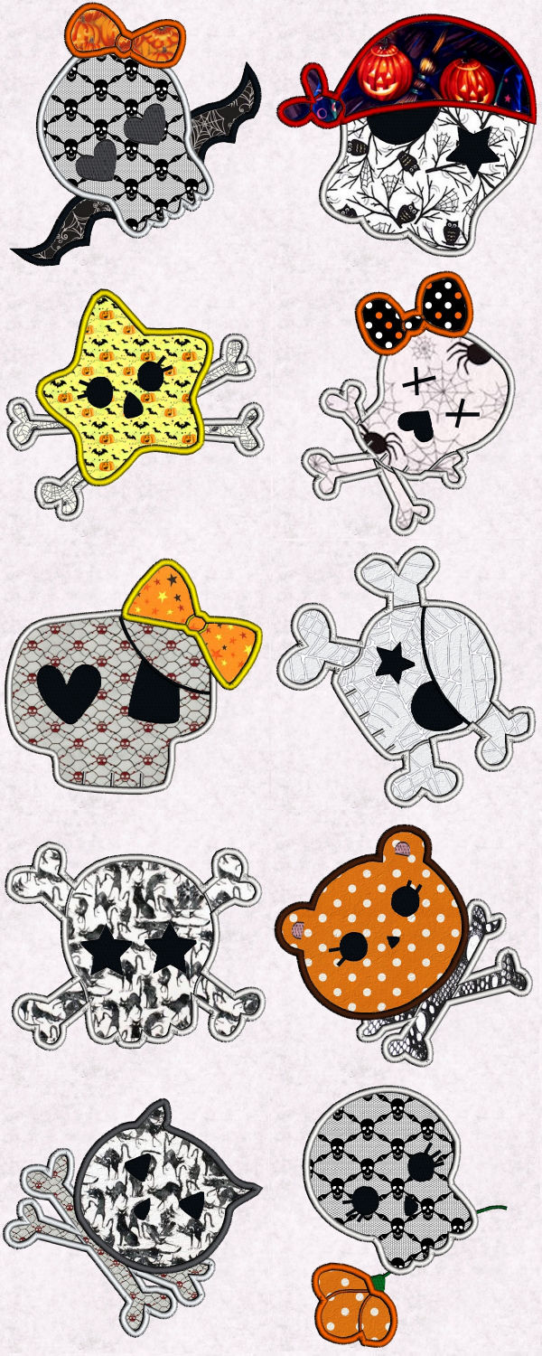 Skully Applique Embroidery Machine Design Details