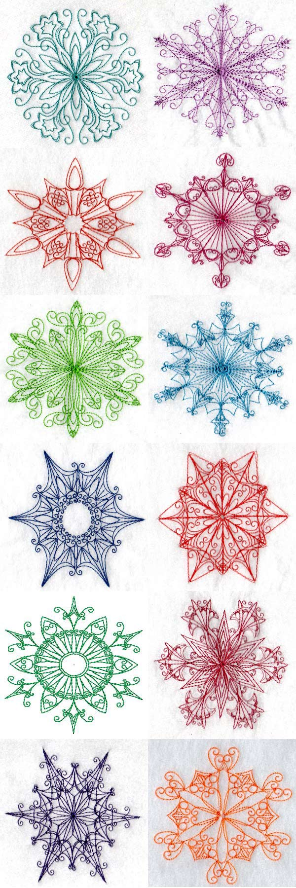 Snowflakes or Stars Embroidery Machine Design Details