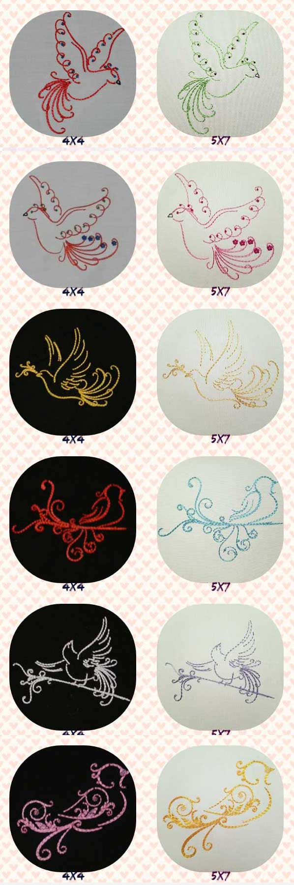 Swirly Doves Embroidery Machine Design Details