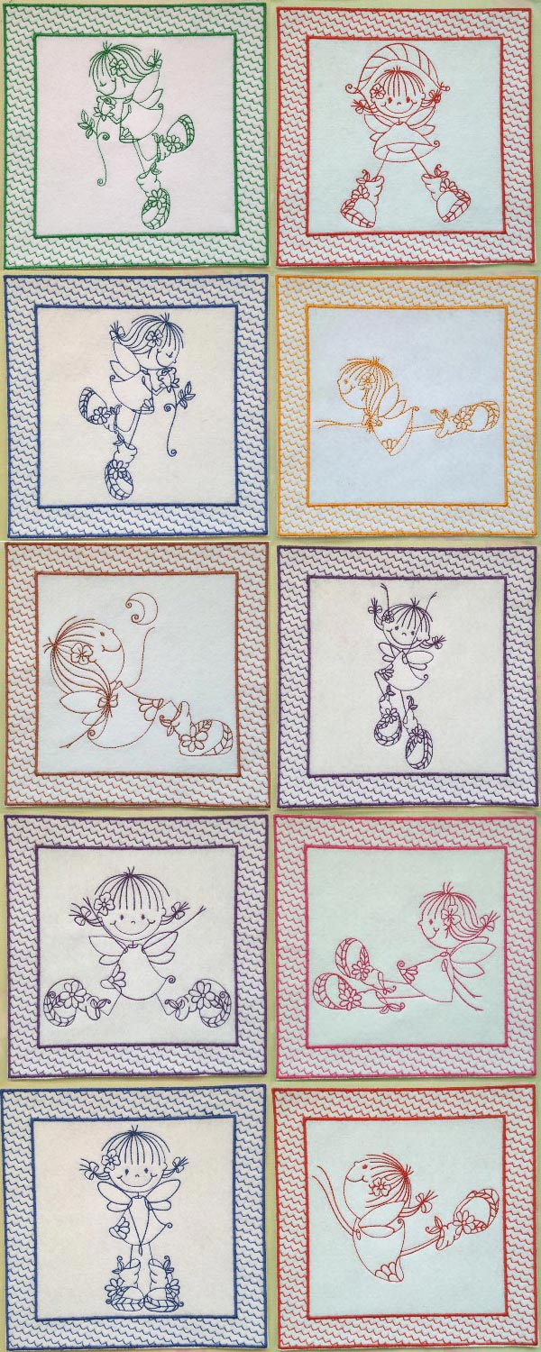 Swirly Girls Quilt Blocks Embroidery Machine Design Details