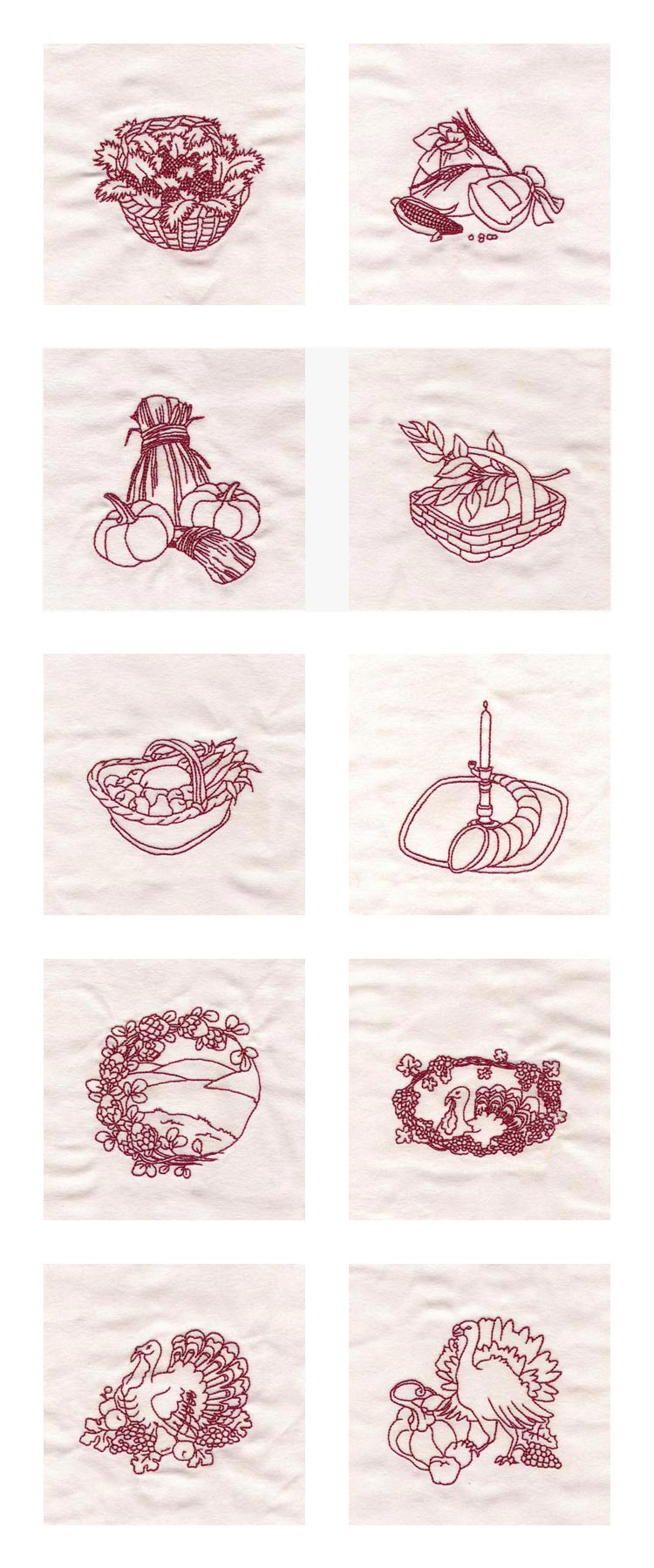 Embroidery machine designs thanksgiving line art set