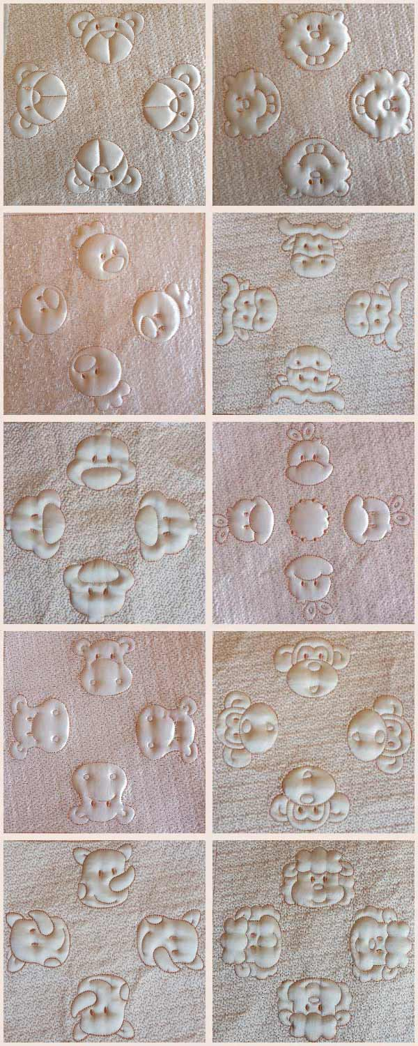 Trapunto Baby Blanket Embroidery Machine Design Details