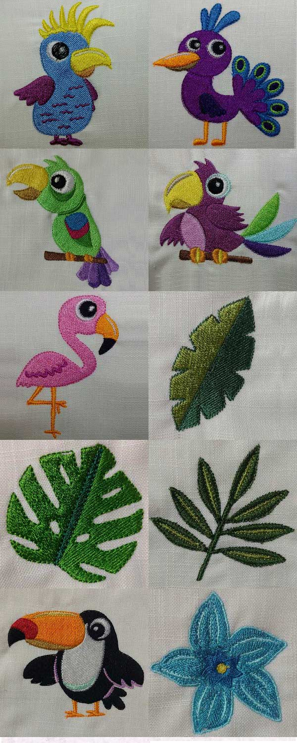 Tropical Designs Embroidery Machine Design Details