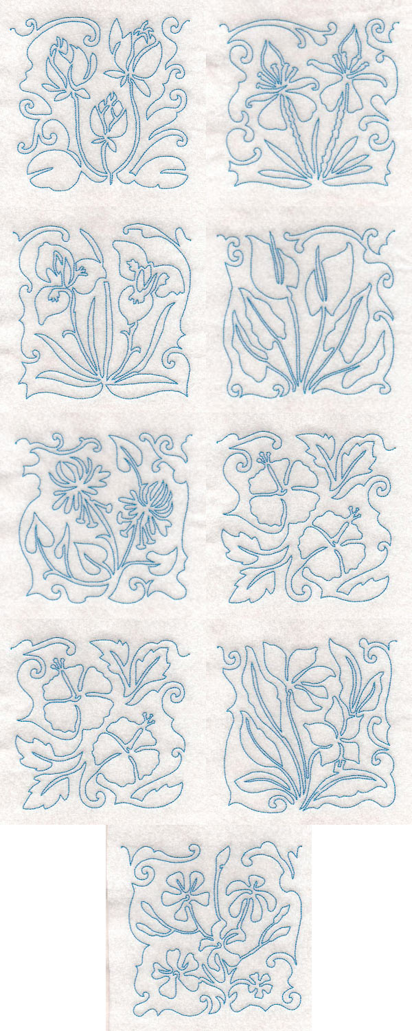Tropical Flower Line Blocks Embroidery Machine Design Details