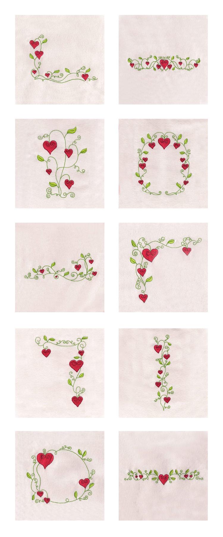 Embroidery machine designs valentine flowers borders set