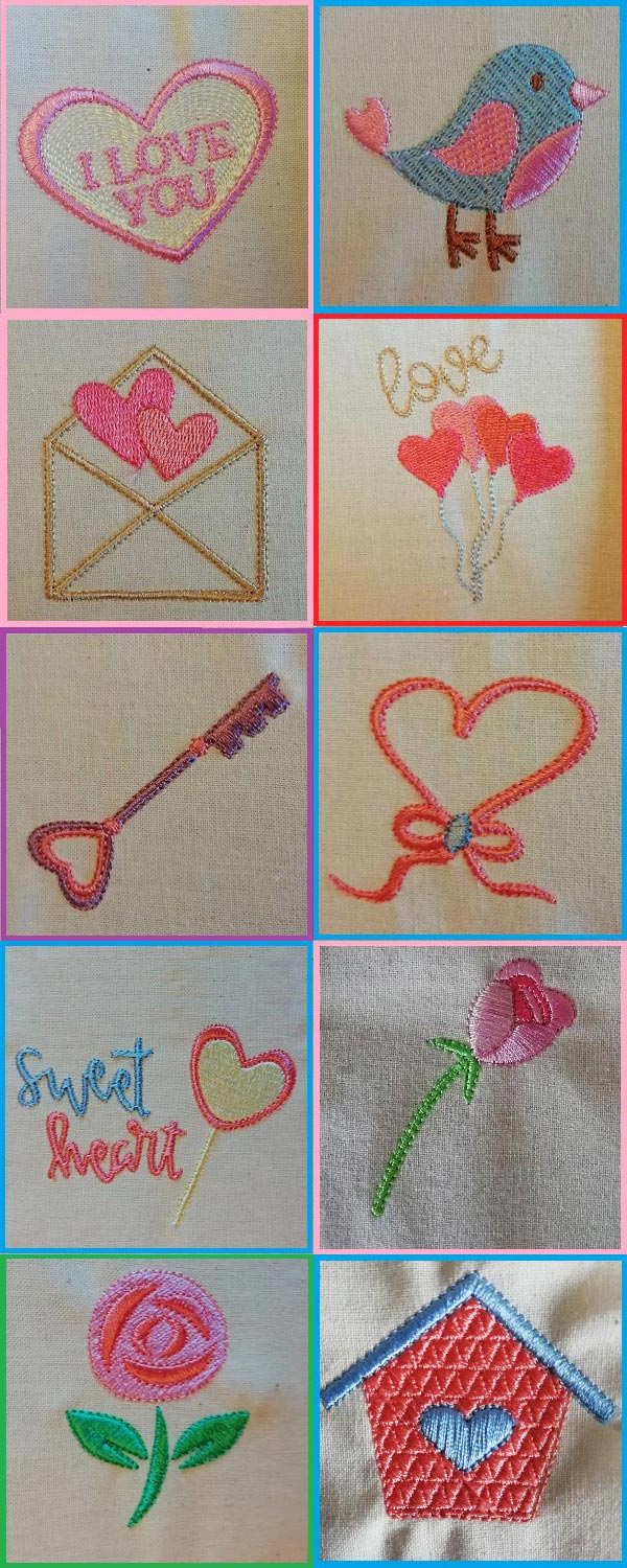 Valentine Hearts 2 Embroidery Machine Design Details