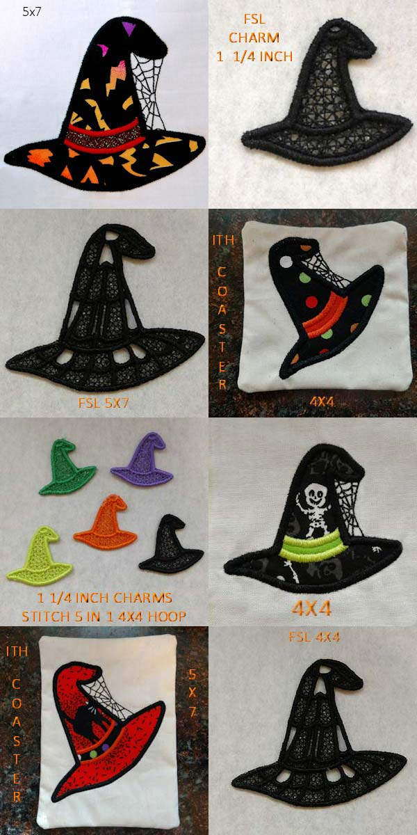 Wicked Witch Hats 2 Embroidery Machine Design Details